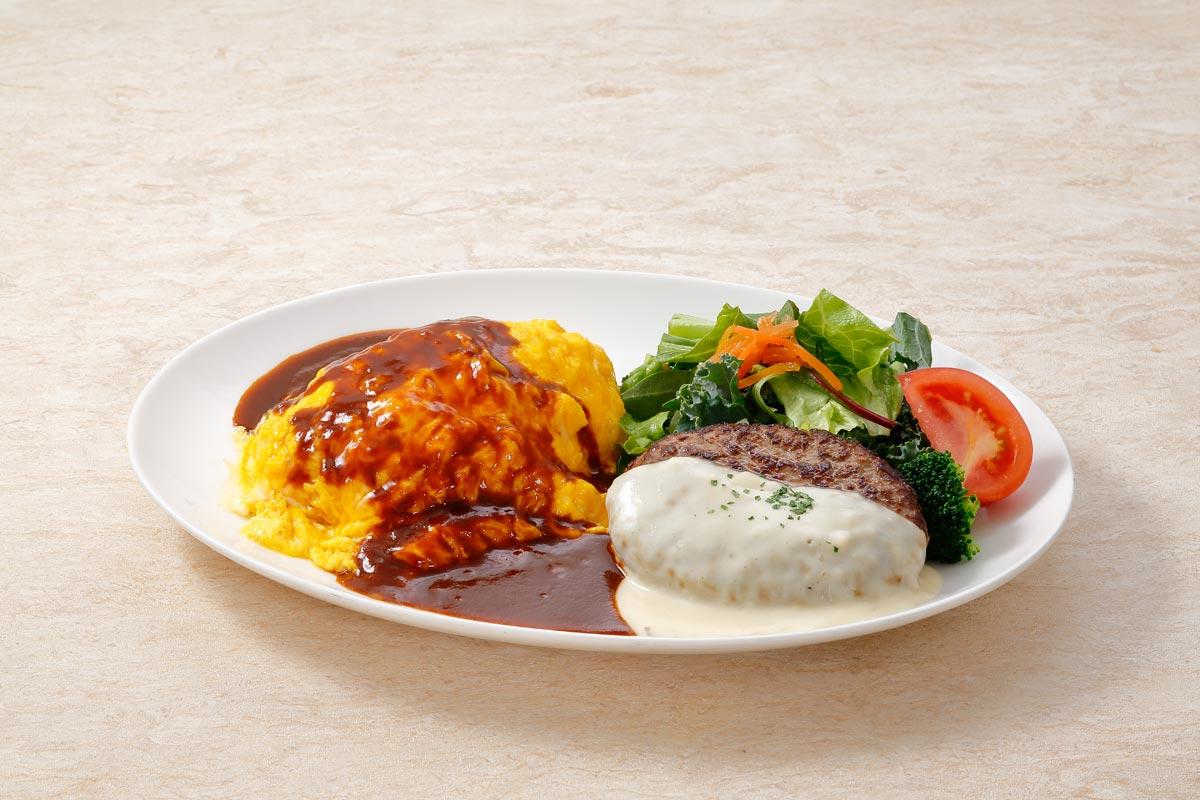 Omelet rice (An omlette filled with seasoned fried rice) & Hamburg steak