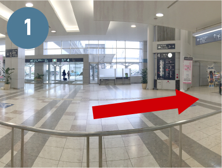 Access from International Arrival Lobby to Sendai Airport Station