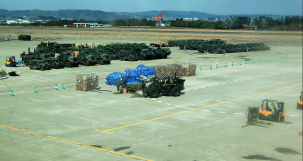 Airport apron used as the base for delivering relief supplies to disaster-stricken areas