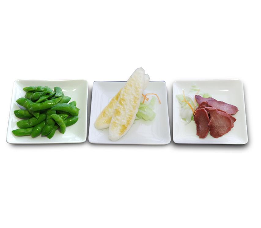 3点盛(枝豆・笹かま・おつまみ牛タン) 572円(税込)